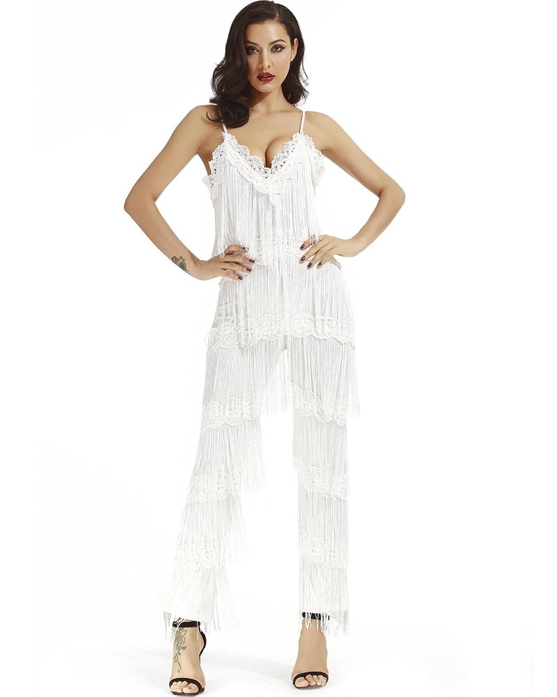 c36a0d4abd Whoinshop Women s Fashion Strappy Deep V Neck Clubwear Backless Tassel Maxi  Jumpsuit