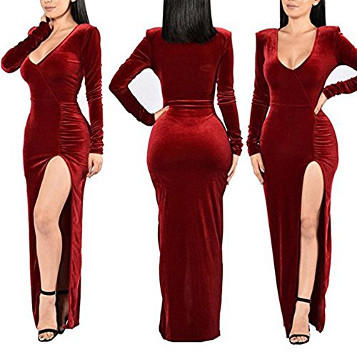 Robe Cocktail U soire Velours Robe Sexy Party Rouge Divis xinbeauty de Longue Maxi wqPYFYzx0