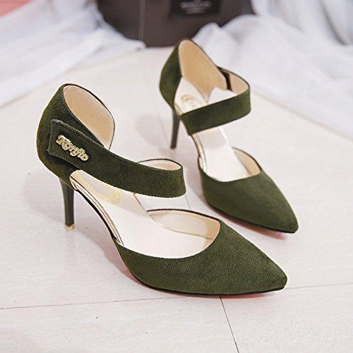 verde High con Baotou La fina punta Elegante Verano el ejército y 38 zapatos multa Heel Hollow versátil con HaxRA
