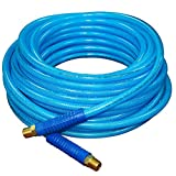 """FIXSMITH-Reinforced-Polyurethane-Air-Hose,300 PSI,100 Feet x 1/4 Inch,PU Air Compressor Hose with 1/4"""" MNPT Brass Swivel End Fittings and Heavy Duty Bend Restrictors,Blue."""