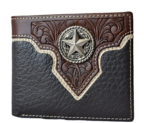 - Men western cowboy brown leather texas star concho bifold small wallet