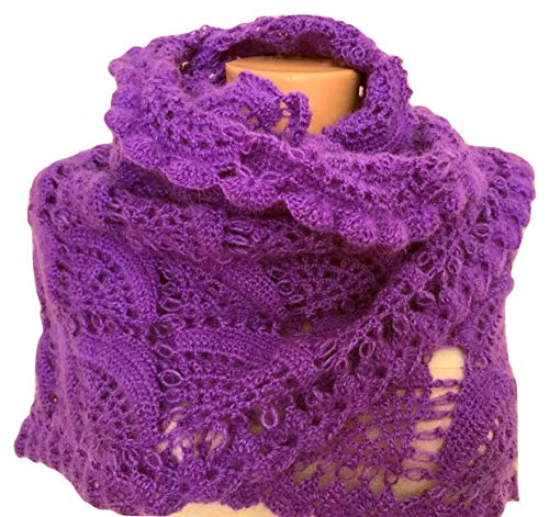 Purple Crochet Triangle Mohair Shawl