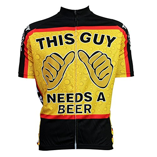 Thriller Rider Mens This Guy Needs a Beer Cycling Short Sleeve Jersey Medium (Bicycle Jersey Beer compare prices)