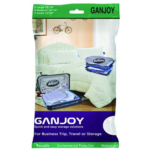 GANJOY Travel Space Saver Bags No Vacuum Needed for Travel (Pack of 10)
