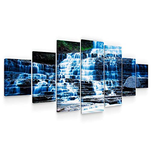 (STARTONIGHT Huge Canvas Wall Art - Amazing Waterfall Large Modern Framed Set of 7 40 x 95 Inches)