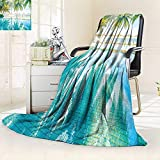 YOYI-HOME Throw Duplex Printed Blanket Beautiful Luxury Hotel Pool Resort Nearly Beach Bright Light Processing Style Velvet Plush Throw Blanket/59 W by 86.5'' H