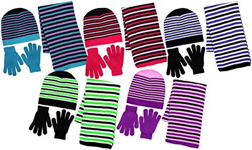 Girl's 3 Piece Knit Hat, Scarf & Gloves Set (Blue-Lavender), (3 Piece Set Hat)