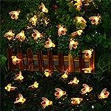30 LED Solar String Honey Bee Shape Warm Light Garden Decoration Waterproof (Warm White)