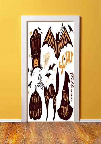 Vintage Halloween 3D Door Sticker Wall Decals Mural Wallpaper,Halloween Symbols Trick or Treat Bat Tombstone Ghost Candy Scary Decorative,DIY Art Home Decor Poster Decoration 30.3x78.16723,Dark Brown