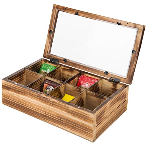 MyGift Rustic Burnt Wood 8-Compartment Tea Bag Chest with Clear Lid