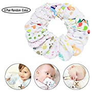 COFFLED Pack of 6 100% Natural Cotton Material Newborn Infant Protective Gloves,Avoid Scratch Mitten Gloves
