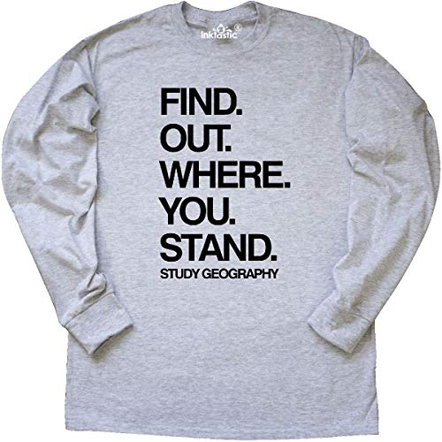 inktastic - Study Geography Long Sleeve T-Shirt Small Ash Grey 2a5fe