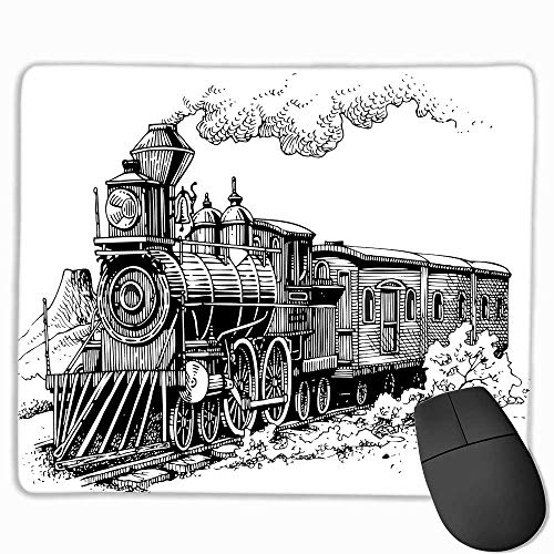 Steam Engine Large Mouse pad Rustic Old Train in Country Locomotive Wooden Wagons Rail Road with Smoke Custom Mouse pad 11.8