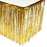 BCLAND Set of 2 Metallic Metallic Foil Fringe Table Skirt(Gold) (2pack, Gold)