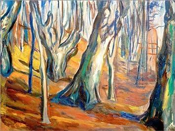 Posterlounge Holzbild 40 x 30 cm: Herbst (Alte Bäume, Ekely) von Edvard Munch