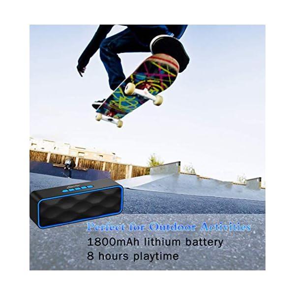ZoeeTree S1 Haut-parleur Bluetooth sans fil, Extérieur, Enceinte stéréo avec Audio HD et Basses Amélioré, Intégré Double Pilote Haut-parleur, Bluetooth 4.2, Mains Libres Téléphone et TF - Blue 5