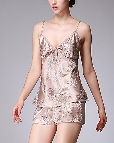 Lannister Fashion Pijamas Mujer Verano Corto Pantalones Elegantes Sleepwear Sin Mangas V Cuello Camison Camisones Suave Sedoso Cómodo Ropa De Dormir ...