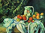'Paul Cezanne-Still Life With A Curtain,1898' Oil Painting, 16x22 Inch / 41x56 Cm ,printed On Polyster Canvas ,this High Definition Art Decorative Prints On Canvas Is Perfectly Suitalbe For Game Room Decoration And Home Artwork And Gifts