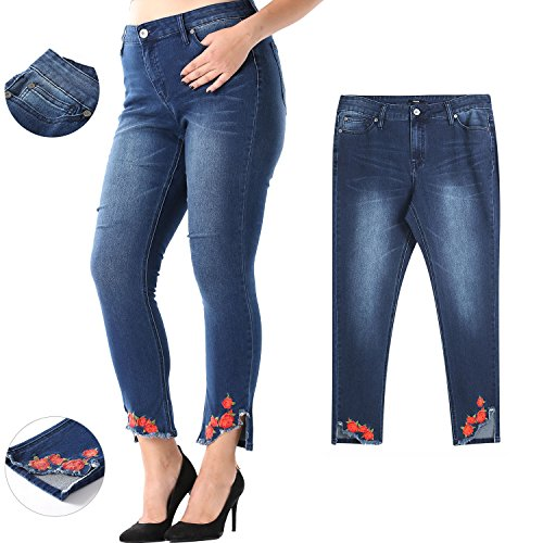 MSSHE Women's Embroidered Hem Stretchy Skinny Jeans Plus (Embroidered Plus Size Jeans)