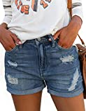 MODARANI Mid Rise Denim Shorts for Women Blue Wash Stretchy Jean Shorts Casual Comfy S