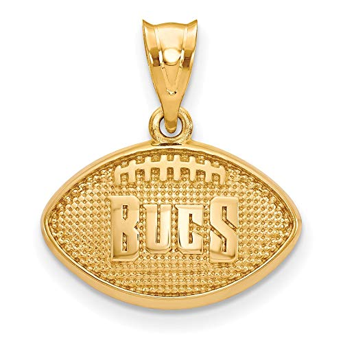 NFL Sterling Silver Gold-plated LogoArt Tampa Bay Buccaneers Football Pendant (Tampa Bay Buccaneers Gold Plated)