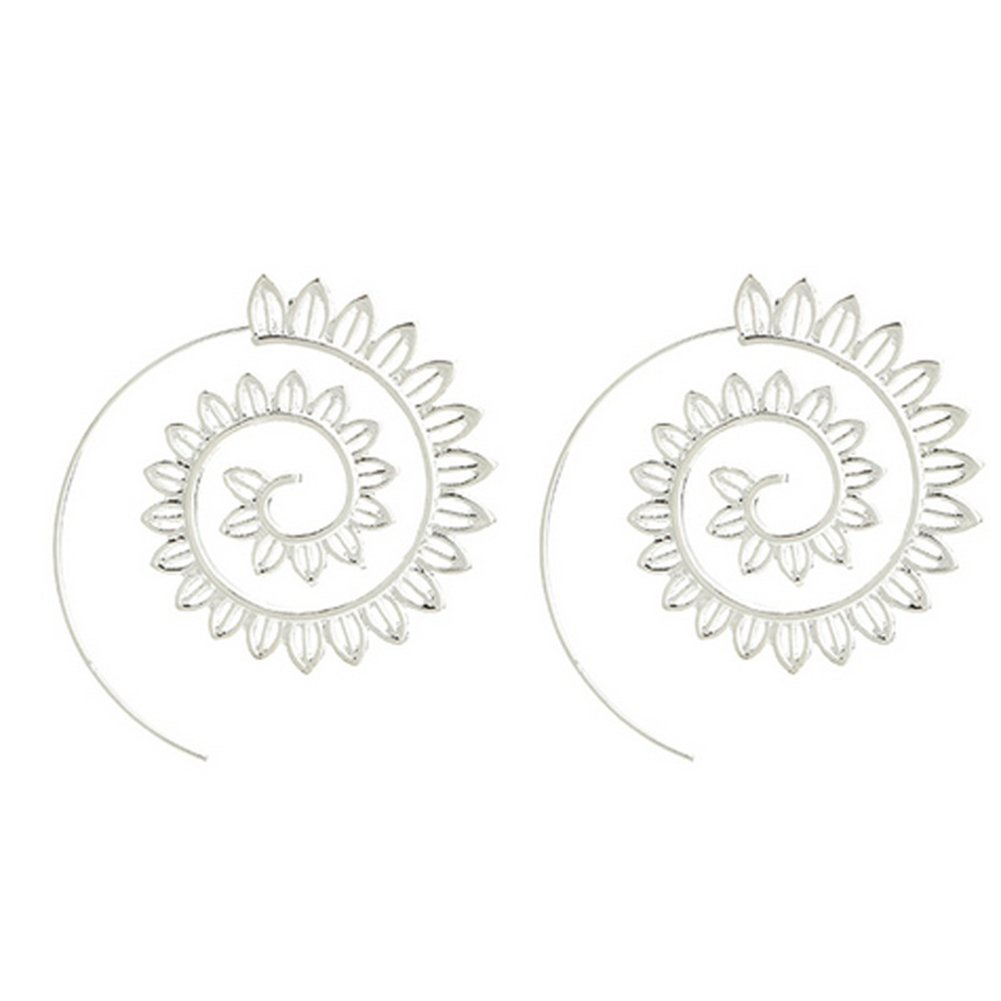 Spiral Alloy Water Drop Shape Party Hoop Earrings Fashion Lady Eardrop Jewelry - Silver SoundsBeauty