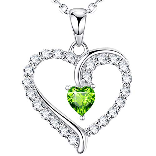 Color Heart Peridot August - Sterling Silver Necklace Jewelry Birthday Gifts for Women Green Peridot I Love You Necklace August Birthstone Love Heart Anniversary Jewelry Gifts for Her Wife Grandma Girlfriend Daughter 20