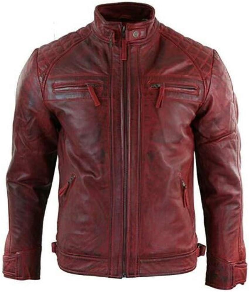 estilo retro estilo retro Chaqueta de motociclista para hombre con cremallera estilo retro de piel aut/éntica