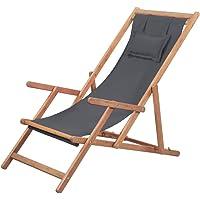 vidaXL Folding Beach Chair Outdoor Garden Patio Sun Lounge Camping Relaxing Seat Fabric and Wooden Frame Grey