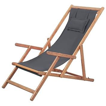 vidaXL Silla de Playa Plegable Tela Gris Piscina Patio Terraza Exterior Verano