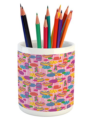 Lunarable Colorful Pencil Pen Holder, Candy Pattern Multicol
