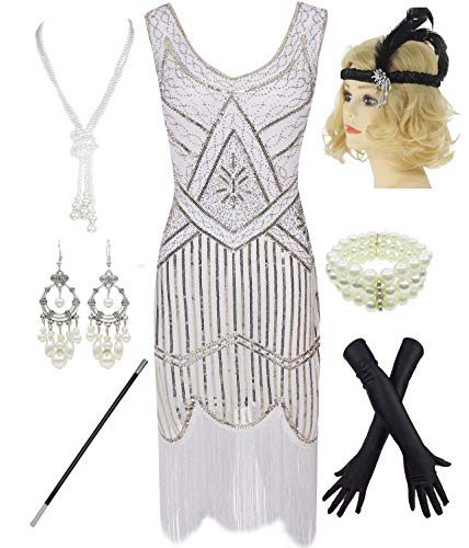 (1920s Gatsby Sequin Fringed Paisley Flapper Dress with 20s Accessories Set (2XL, White))