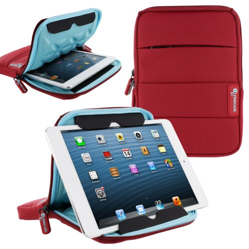 rooCASE 7 Inch Tablet Sleeve Case, Water Resistant Drop Protection Bag Case with Stand (Red) for iPad Mini, Fire HD 7 HD 6 / HDX 7, Galaxy Tab 7.0 8.0 / Tab S 8.4 S2 8.0, Nexus 7 2013 (7 Inch Tablet Sleeve)