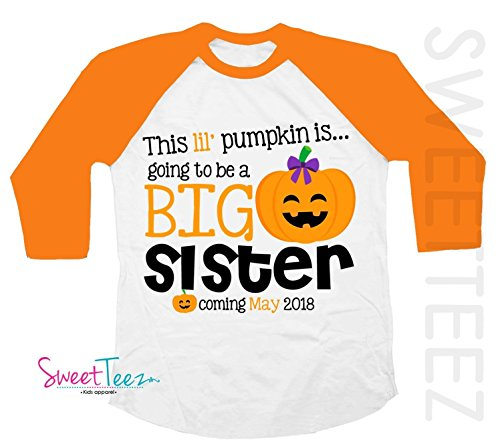 Big Sister Shirt Halloween Shirt Personalized Due Date for Fall and Thanksgiving Pregnancy Announcement Orange Raglan Shirt (Due Date Halloween)