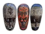 All Seas Imports Gorgeous Set Of (3) Hand Chiseled Wood African Style Wall Decor Masks
