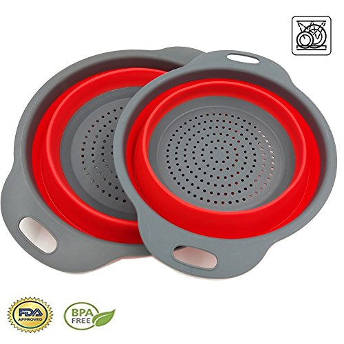 2 Collapsible Colander Mixing Bowl Strainer and Colander Set Silicone Colander Bowls Use for Draining Fruits Vegetables and Pastas by Bellagione (Red)