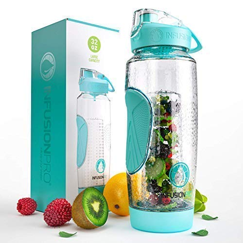 Bottle Replacement Cap H2o - Infusion Pro 32 oz. Fruit Water Bottle Infuser with Insulated Sleeve & Infusion eBook :: Bottom Loading, Large Cage for More Flavor & Pulp Strainer :: Delicious, Healthy Way to Up Your Water Intake