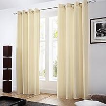 BRIGHTLINEN Vintage 100% Velvet 90 by 90 inches Thick Blackout Elegant Ring Top Eyelet Velvet Curtains Ecru