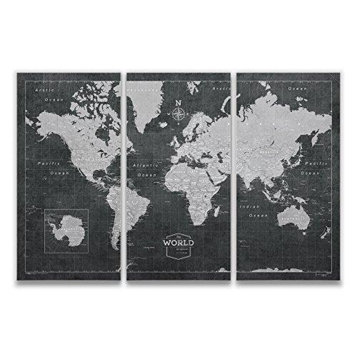 - Conquest Maps World Travel Map with Pins Modern Slate Style Push Pin Travel Map Cork Board, Track Your Travels w/a Handmade Unique Canvas Pinable Map w/Cork (48x32 Inches (3 Panel))