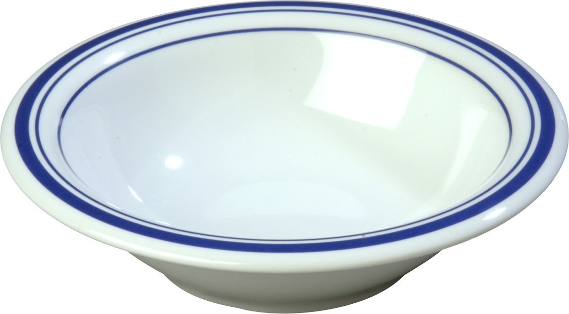 Carlisle 43037912 Durus Designer Pattern 12-oz. Rimmed Bowl, 7.24'' Diameter, London on White (Case of 24)