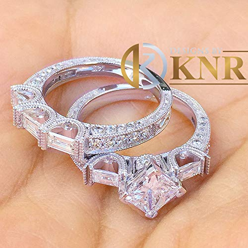 - 14k Solid White Gold Princess, Baguettes, and Round Cut Simulated Diamond Engagement Ring And Band Bridal Set Wedding Antique Deco 2.50ctw