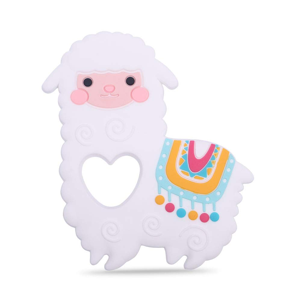 Baby Llama Silicone Teether,Sensory Chew Toys,BPA Free Soft and Effective Infant Teething Pain Relief Toys,Freezer Safe,Food Grade Silicone,Best Shower Gift for Boys and Girls (White)