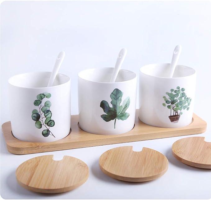 NL HORT Kitchenware ceramic seasoning pot set seasoning box three-piece bamboo cover