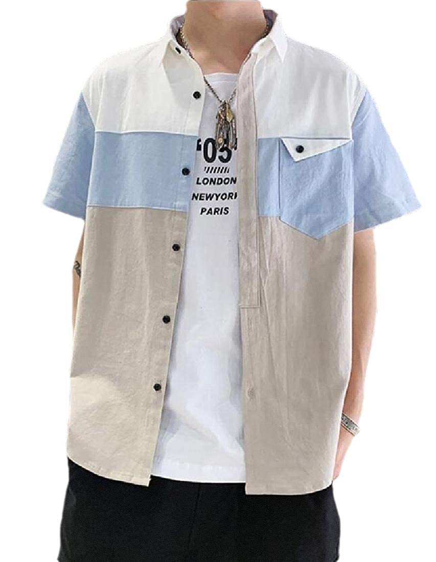 xiaohuoban Mens Breathable Solid Short Sleeve Summer Loose Tops Blouses Shirt
