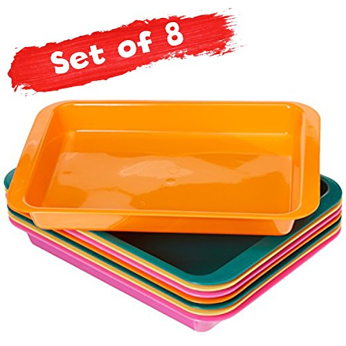 Set of 8 Arts and Crafts Tray - Classroom organization- Daycare supplies- Montessori - Lego Sorter - Craft Organizer for activities - Kinetic Sands, Blocks, Puzzles,Beading, Sensory Play Arts And Crafts Activity