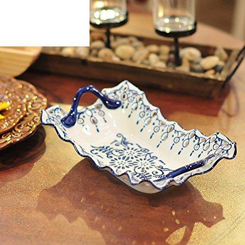 Pierced Fruit Bowl - Ceramic fruit bowl Creative pierced fruit plates Home snack plate Dried fruit tray-A