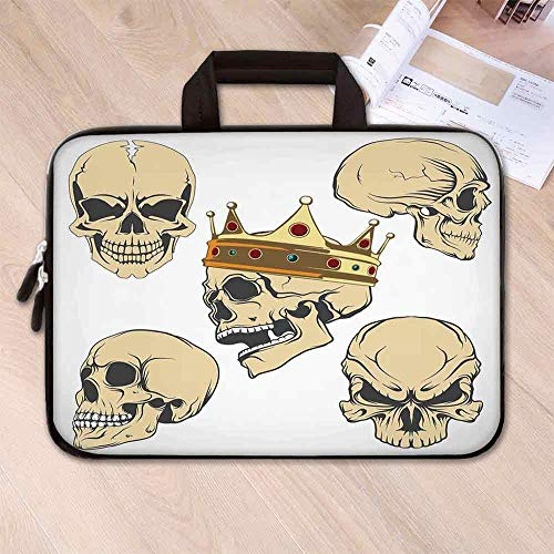 Skull Decor Waterproof Neoprene Laptop Bag,Skulls Different Expressions Evil Face Crowned Death Monster Halloween for Business Casual or School,17.3''L x 13''W x 0.8''H