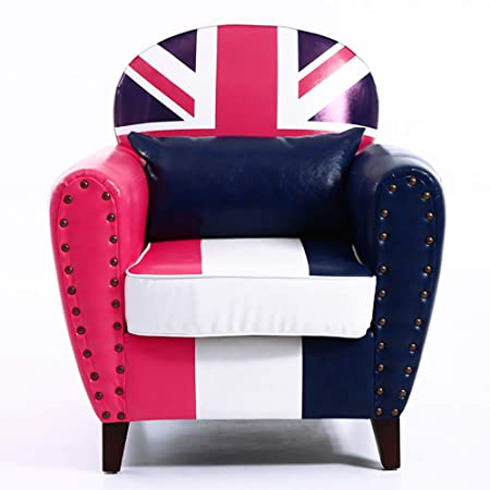 Warmiehomy Faux Leather Tub Chair Union Jack Occasional Chair Upholstered  Armchair with Solid Wood Legs for c48350b3388bd