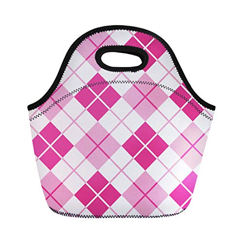 Semtomn Neoprene Lunch Tote Bag Preppy Argyle Pattern in Pink Seamlessly Abstract Checkered Checks Reusable Cooler Bags Insulated Thermal Picnic Handbag for Travel,School,Outdoors,Work
