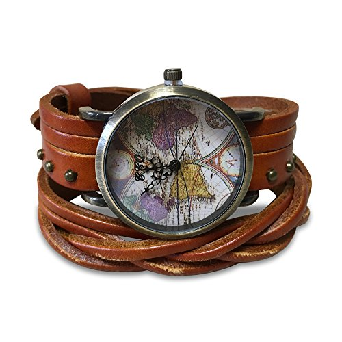 MINILUJIA Women Watches Soft Leather Wrap Traval Word Map Watch Men ...